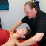 Mack Pitts-massage therapist Dallas-with client